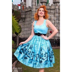 Pinup Couture Aurora Dress Blue Castle Size XS